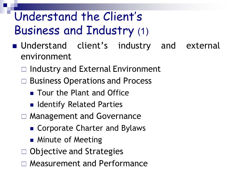 Understand the Client's Business and Industry (1) Understand client's industry and external environment  Industry and External Environment  Business