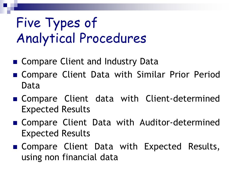 Five Types of Analytical Procedures Compare Client and Industry Data Compare Client Data with Similar Prior Period Data Compare Client data with Clien