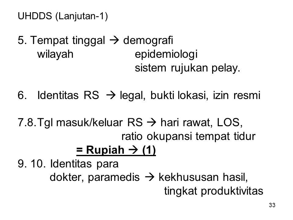 33 UHDDS (Lanjutan-1) 5.Tempat tinggal  demografi wilayahepidemiologi sistem rujukan pelay.
