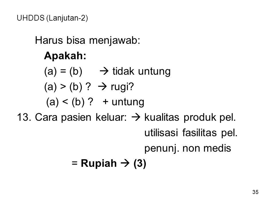 35 UHDDS (Lanjutan-2) Harus bisa menjawab: Apakah: (a) = (b)  tidak untung (a) > (b) .