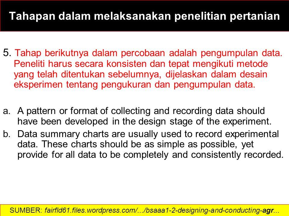 5. Tahap berikutnya dalam percobaan adalah pengumpulan data.