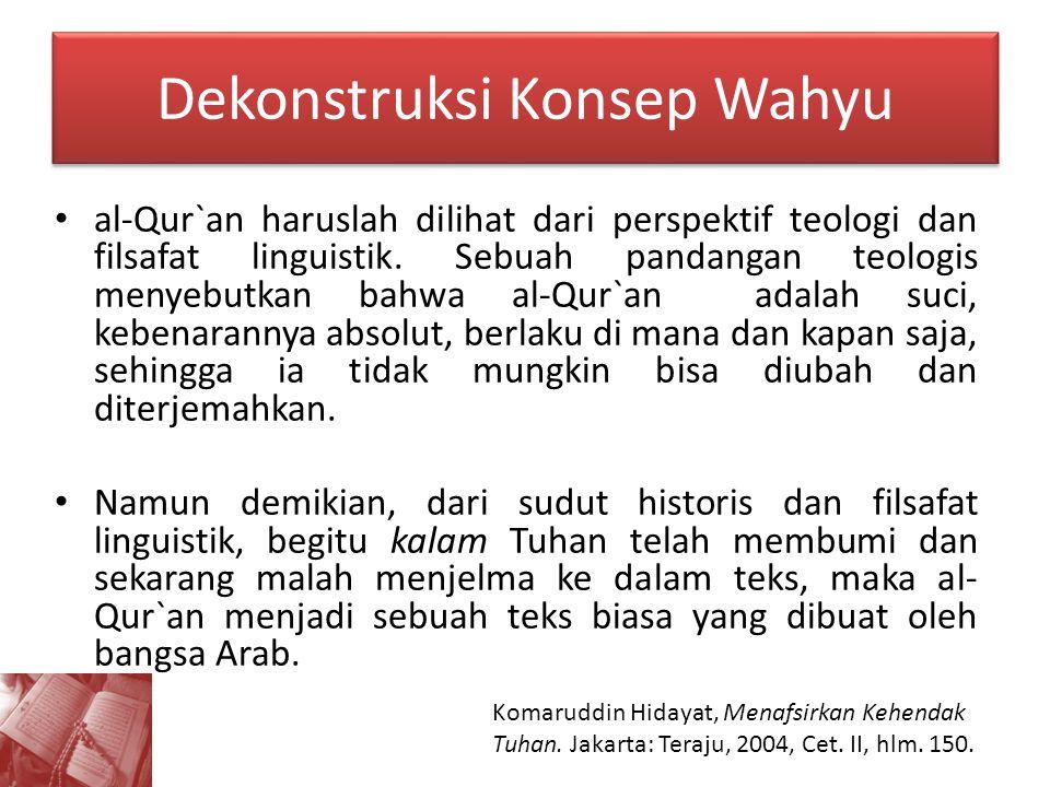 Dekonstruksi Konsep Wahyu al-Qur`an haruslah dilihat dari perspektif teologi dan filsafat linguistik. Sebuah pandangan teologis menyebutkan bahwa al-Q