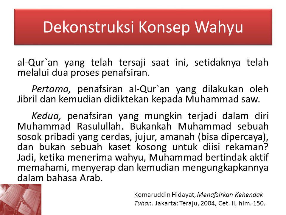 Dekonstruksi Konsep Wahyu al-Qur`an yang telah tersaji saat ini, setidaknya telah melalui dua proses penafsiran. Pertama, penafsiran al-Qur`an yang di