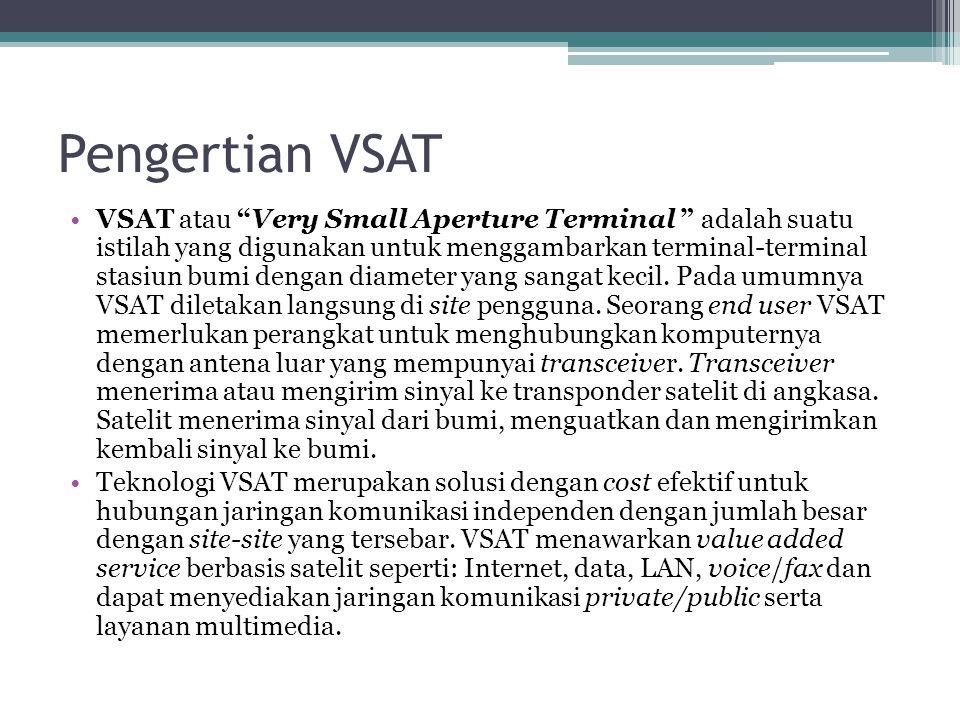 "Pengertian VSAT VSAT atau ""Very Small Aperture Terminal "" adalah suatu istilah yang digunakan untuk menggambarkan terminal-terminal stasiun bumi denga"