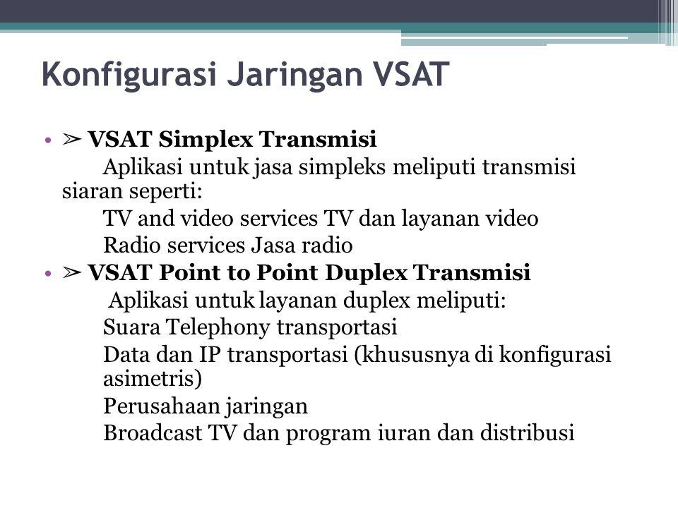 Konfigurasi Jaringan VSAT ➢ VSAT Simplex Transmisi Aplikasi untuk jasa simpleks meliputi transmisi siaran seperti: TV and video services TV dan layana