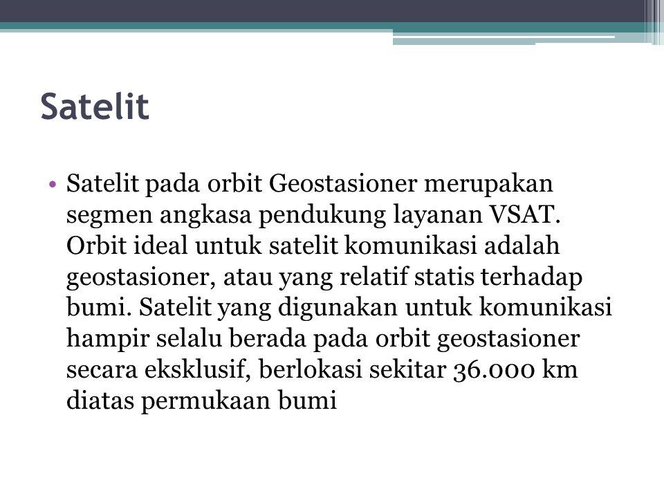 Satelit Satelit pada orbit Geostasioner merupakan segmen angkasa pendukung layanan VSAT. Orbit ideal untuk satelit komunikasi adalah geostasioner, ata