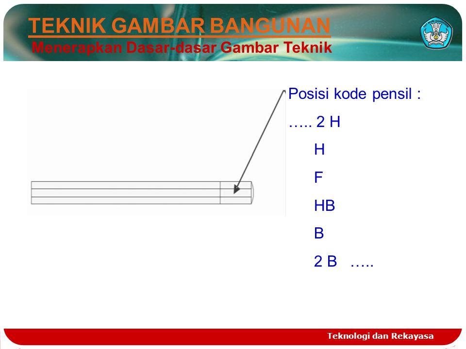 Teknologi dan Rekayasa Posisi kode pensil : ….. 2 H H F HB B 2 B ….. TEKNIK GAMBAR BANGUNAN Menerapkan Dasar-dasar Gambar Teknik