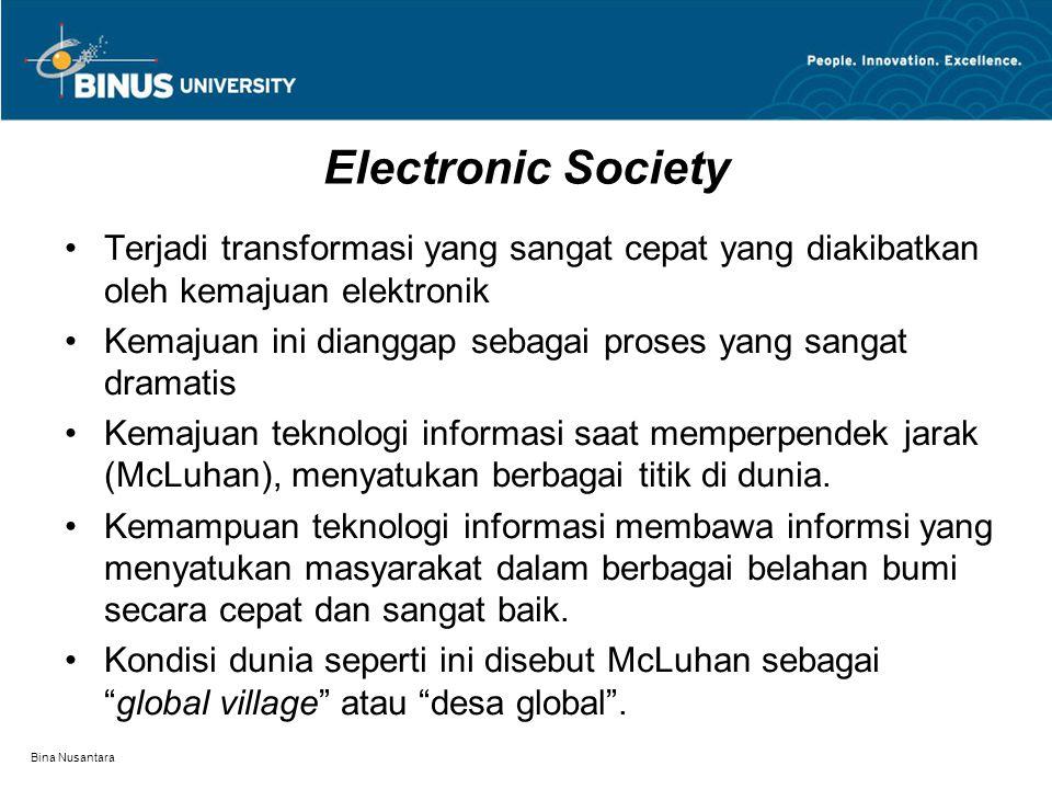 Bina Nusantara Electronic Society Terjadi transformasi yang sangat cepat yang diakibatkan oleh kemajuan elektronik Kemajuan ini dianggap sebagai prose