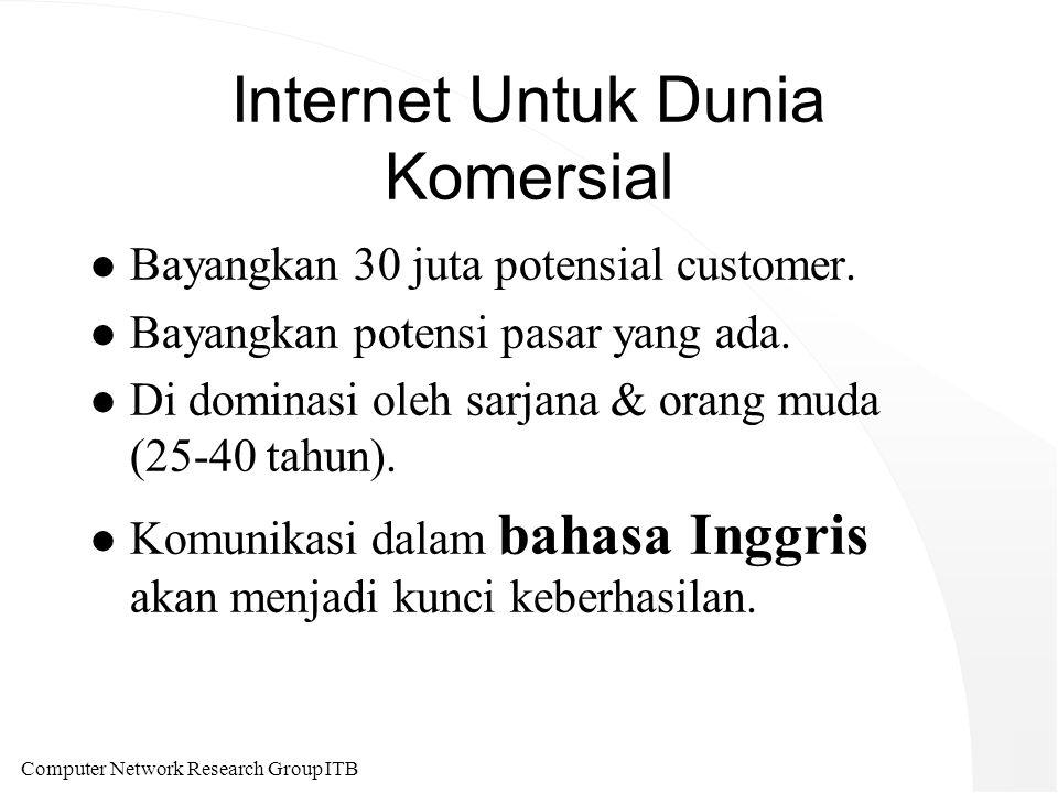 Computer Network Research Group ITB Internet Untuk Dunia Komersial l Bayangkan 30 juta potensial customer.