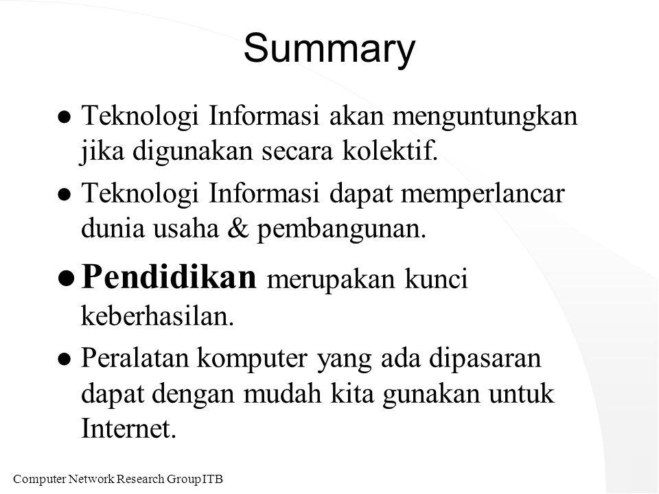 Computer Network Research Group ITB Summary l Teknologi Informasi akan menguntungkan jika digunakan secara kolektif.