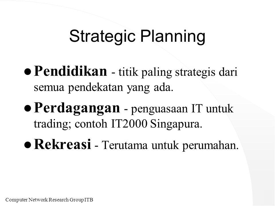 Computer Network Research Group ITB Strategic Planning l Pendidikan - titik paling strategis dari semua pendekatan yang ada. l Perdagangan - penguasaa
