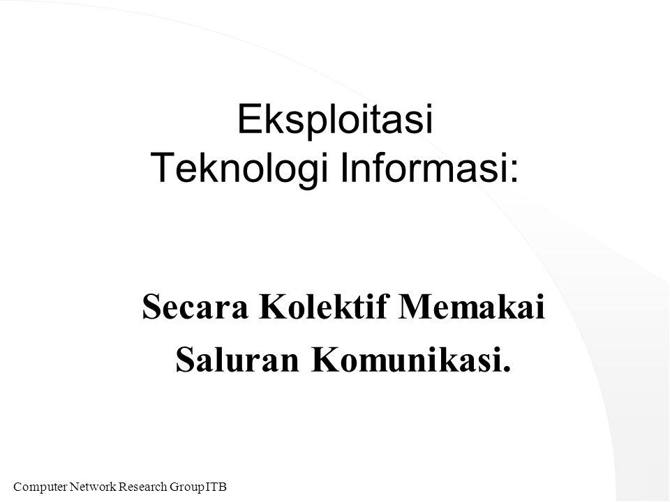 Computer Network Research Group ITB Eksploitasi Teknologi Informasi: Secara Kolektif Memakai Saluran Komunikasi.
