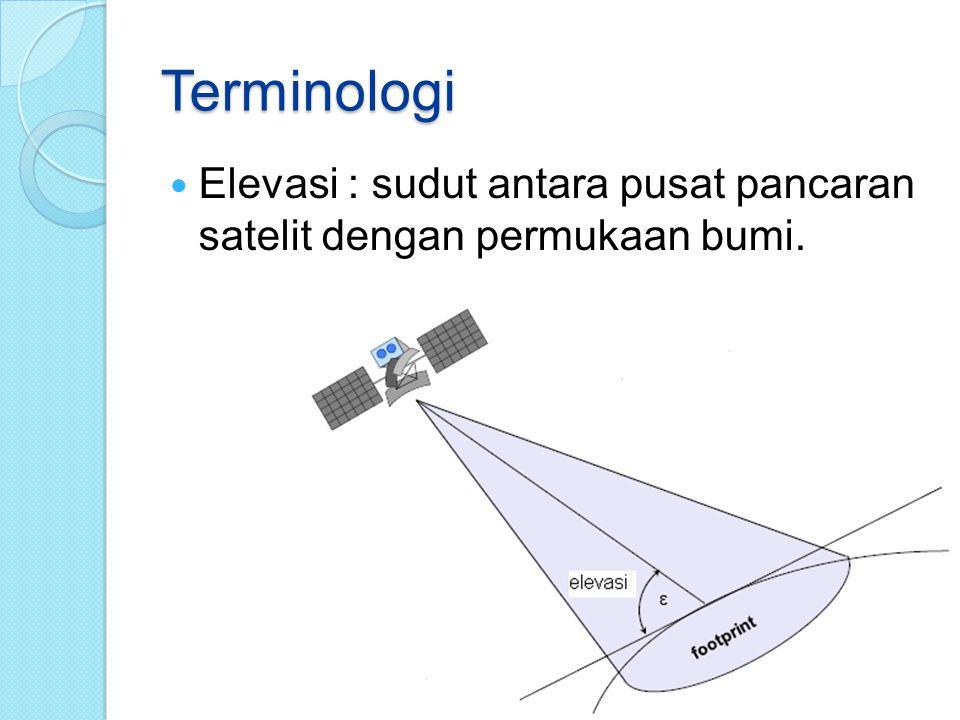 Terminologi Elevasi : sudut antara pusat pancaran satelit dengan permukaan bumi.
