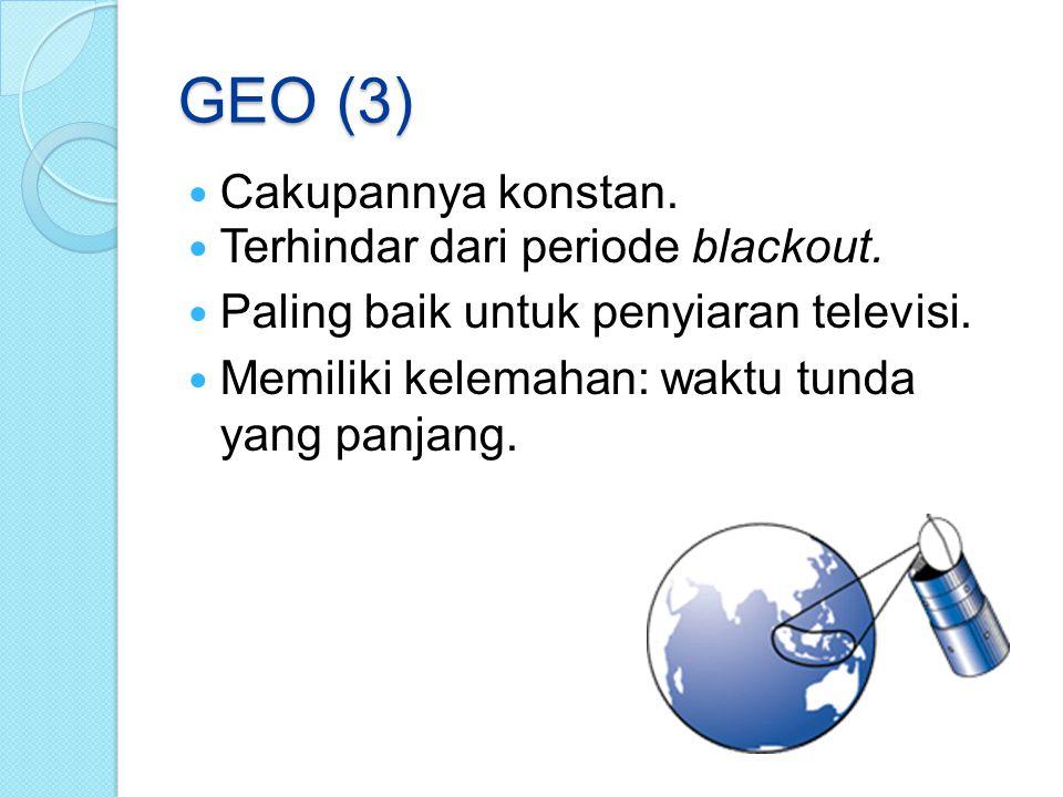 GEO (3) Cakupannya konstan. Terhindar dari periode blackout. Paling baik untuk penyiaran televisi. Memiliki kelemahan: waktu tunda yang panjang.