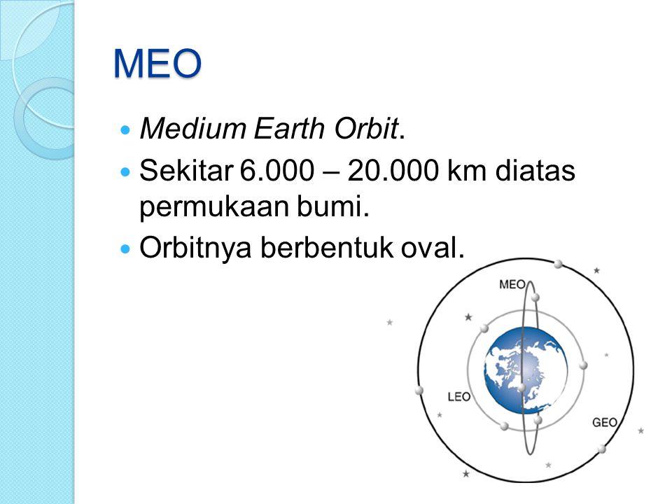 MEO Medium Earth Orbit. Sekitar 6.000 – 20.000 km diatas permukaan bumi. Orbitnya berbentuk oval.