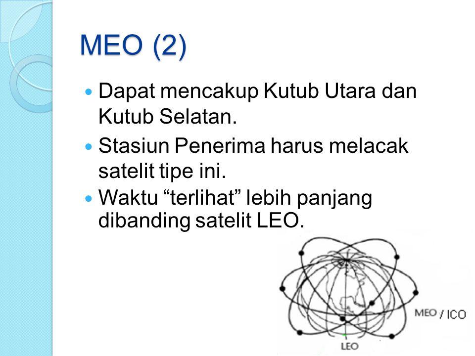 """MEO (2) Dapat mencakup Kutub Utara dan Kutub Selatan. Stasiun Penerima harus melacak satelit tipe ini. Waktu """"terlihat"""" lebih panjang dibanding sateli"""