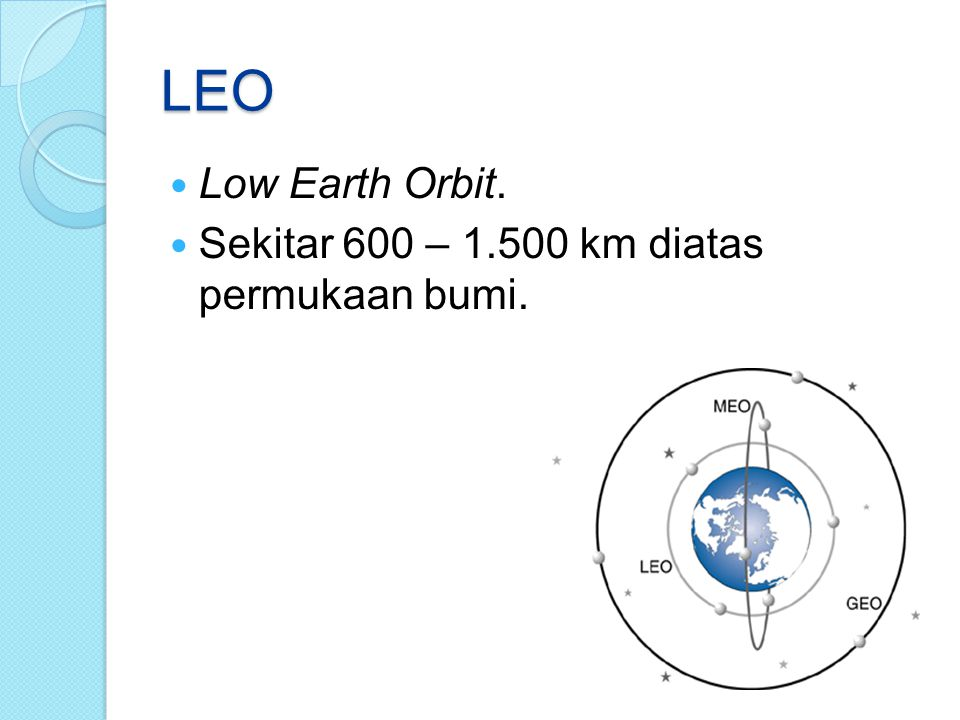 LEO Low Earth Orbit. Sekitar 600 – 1.500 km diatas permukaan bumi.