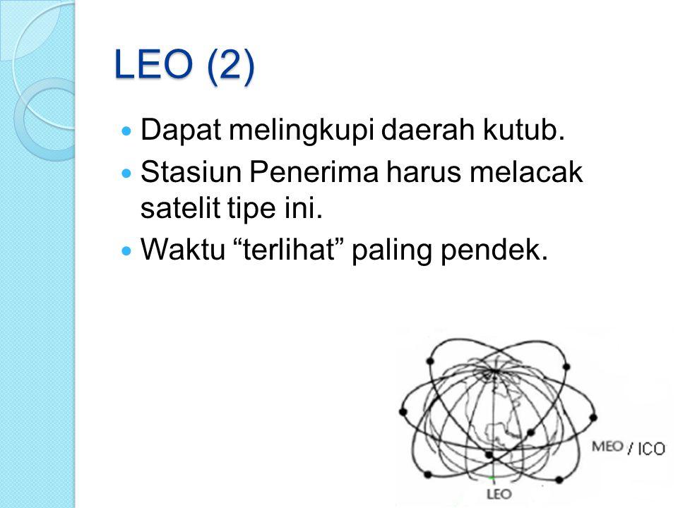 """LEO (2) Dapat melingkupi daerah kutub. Stasiun Penerima harus melacak satelit tipe ini. Waktu """"terlihat"""" paling pendek."""