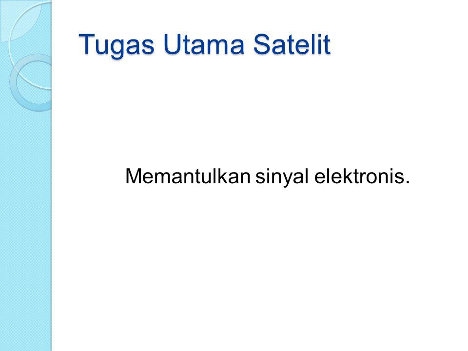 Tugas Utama Satelit Memantulkan sinyal elektronis.