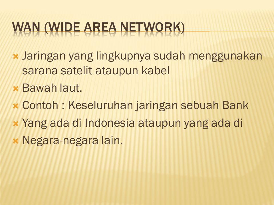  Jaringan yang lingkupnya sudah menggunakan sarana satelit ataupun kabel  Bawah laut.  Contoh : Keseluruhan jaringan sebuah Bank  Yang ada di Indo