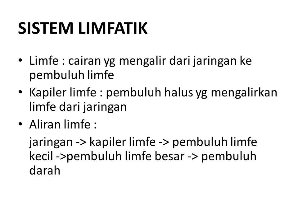 SISTEM LIMFATIK Limfe : cairan yg mengalir dari jaringan ke pembuluh limfe Kapiler limfe : pembuluh halus yg mengalirkan limfe dari jaringan Aliran li