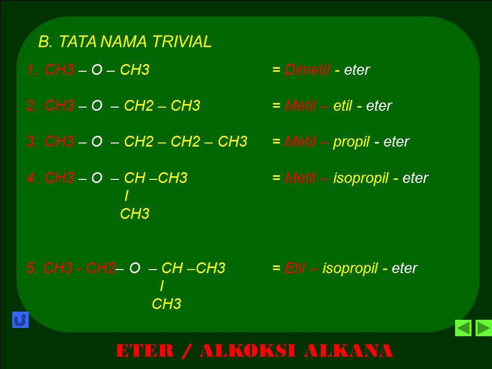 ETER / ALKOKSI ALKANA A. TATA NAMA IUPAC 8. CH3 – CH2 - O – CH - CH2 – CH3= 2-Etoksi - butana I CH3 9. CH3 – CH2 - O – CH 2- CH – CH3= 1-Metoksi – 2-