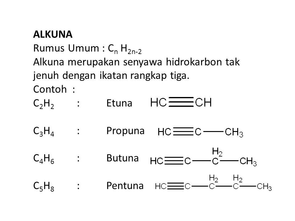 ALKUNA Rumus Umum : C n H 2n-2 Alkuna merupakan senyawa hidrokarbon tak jenuh dengan ikatan rangkap tiga.