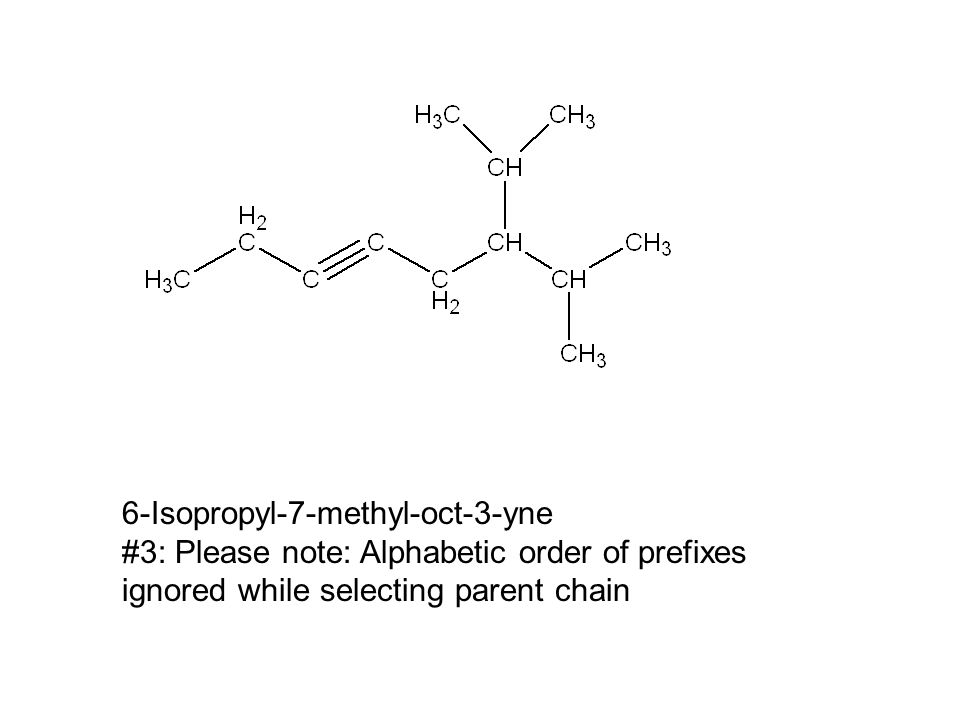 6-Isopropyl-7-methyl-oct-3-yne #3: Please note: Alphabetic order of prefixes ignored while selecting parent chain