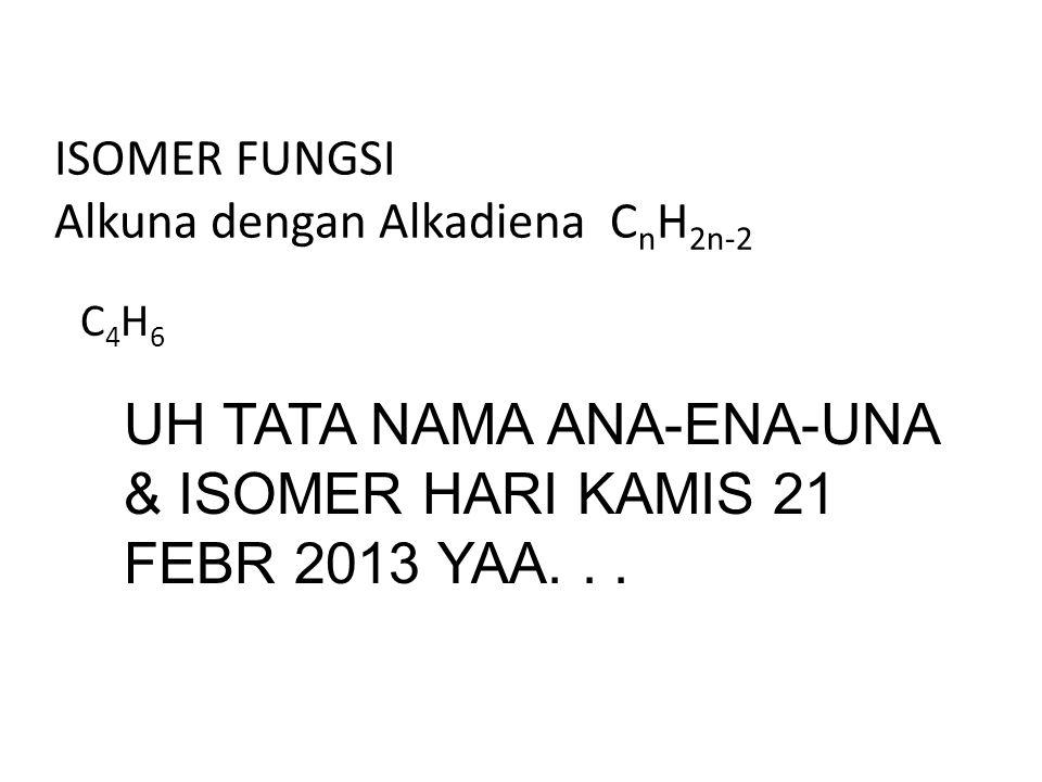 ISOMER FUNGSI Alkuna dengan Alkadiena C n H 2n-2 C4H6C4H6 UH TATA NAMA ANA-ENA-UNA & ISOMER HARI KAMIS 21 FEBR 2013 YAA...