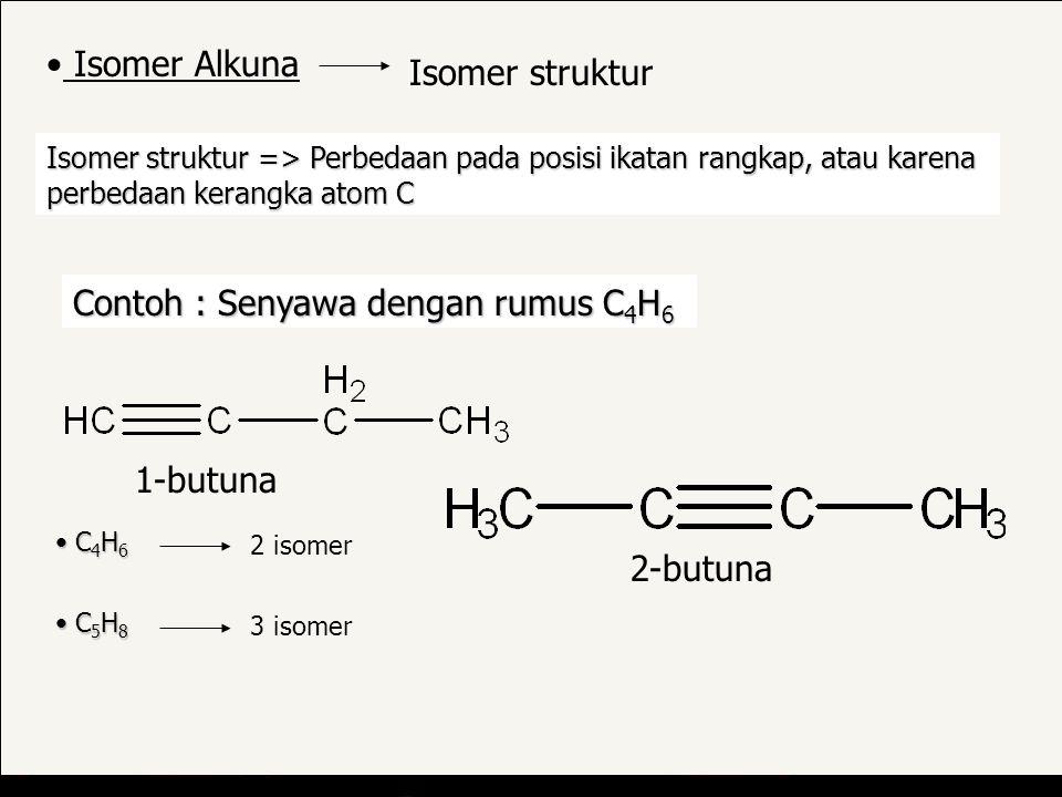 Isomer struktur => Perbedaan pada posisi ikatan rangkap, atau karena perbedaan kerangka atom C Contoh : Senyawa dengan rumus C 4 H 6 1-butuna Isomer Alkuna Isomer struktur 2-butuna C 4 H 6 C 4 H 6 2 isomer C 5 H 8 C 5 H 8 3 isomer
