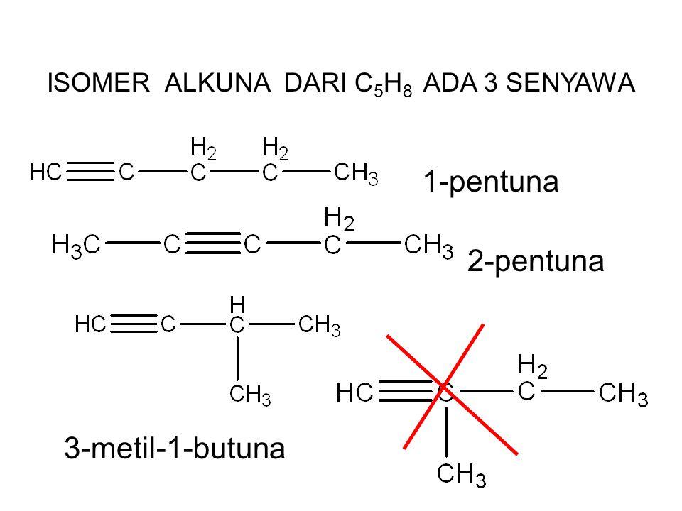ISOMER ALKUNA DARI C 5 H 8 ADA 3 SENYAWA 1-pentuna 2-pentuna 3-metil-1-butuna