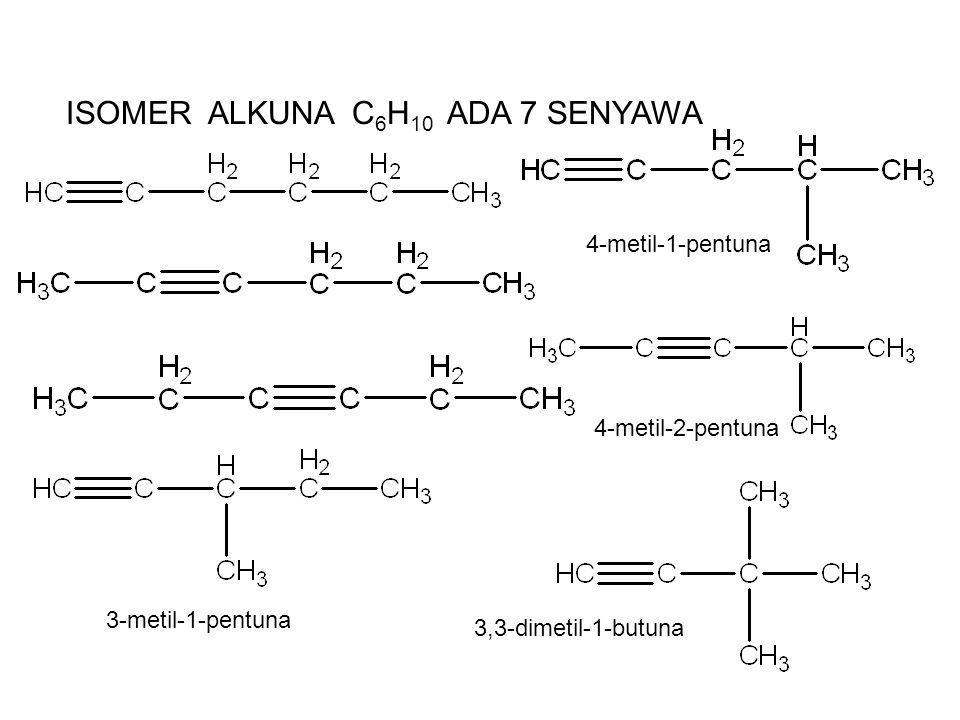 ISOMER ALKUNA C 6 H 10 ADA 7 SENYAWA 4-metil-1-pentuna 3-metil-1-pentuna 4-metil-2-pentuna 3,3-dimetil-1-butuna