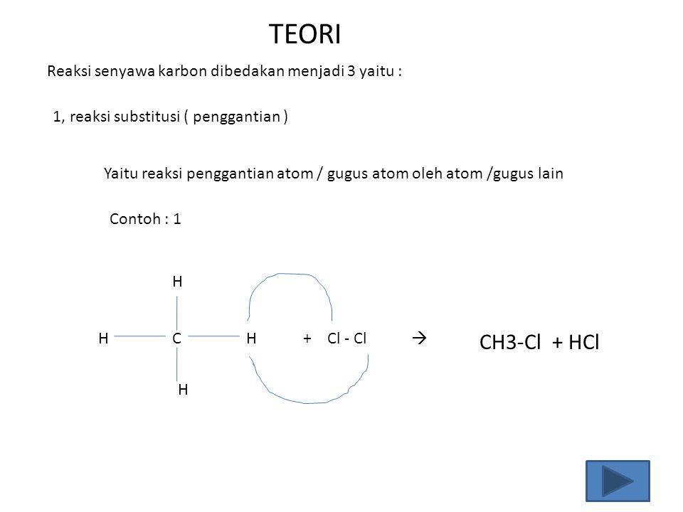 Reaksi senyawa karbon dibedakan menjadi 3 yaitu : 1, reaksi substitusi ( penggantian ) Yaitu reaksi penggantian atom / gugus atom oleh atom /gugus lai