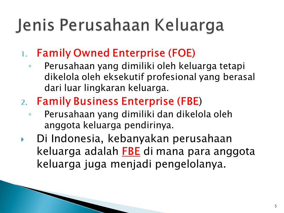 1. Family Owned Enterprise (FOE) ◦ Perusahaan yang dimiliki oleh keluarga tetapi dikelola oleh eksekutif profesional yang berasal dari luar lingkaran