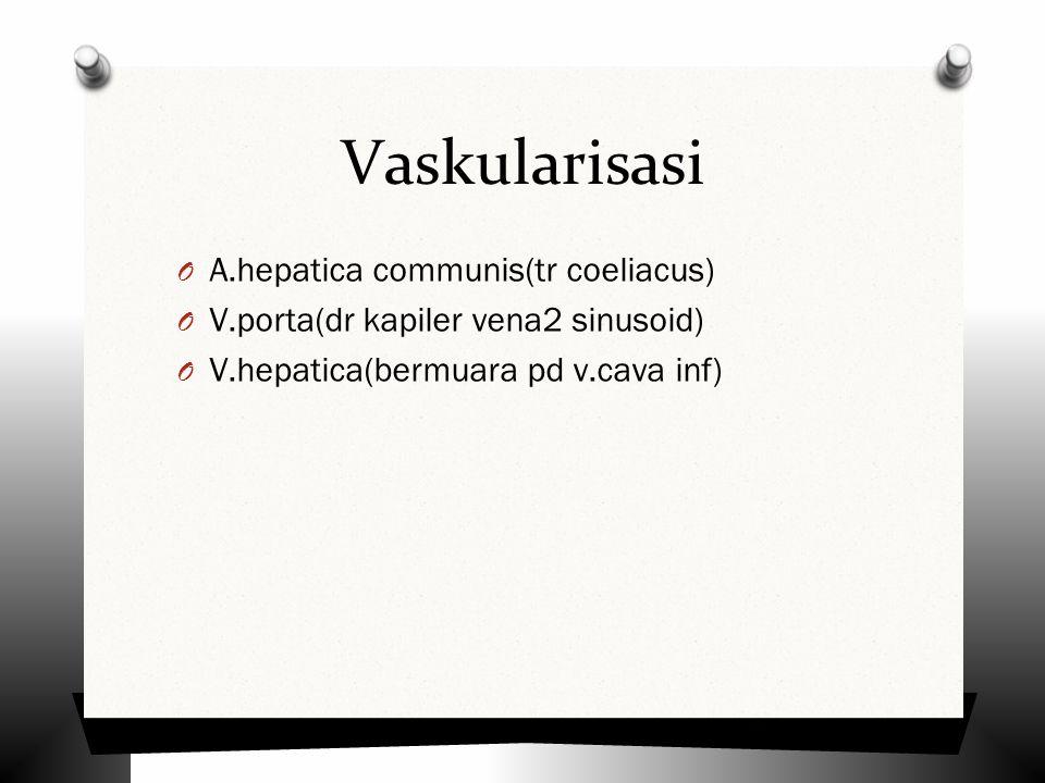 Vaskularisasi O A.hepatica communis(tr coeliacus) O V.porta(dr kapiler vena2 sinusoid) O V.hepatica(bermuara pd v.cava inf)