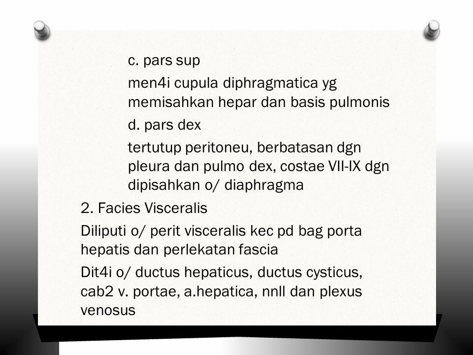 c.pars sup men4i cupula diphragmatica yg memisahkan hepar dan basis pulmonis d.