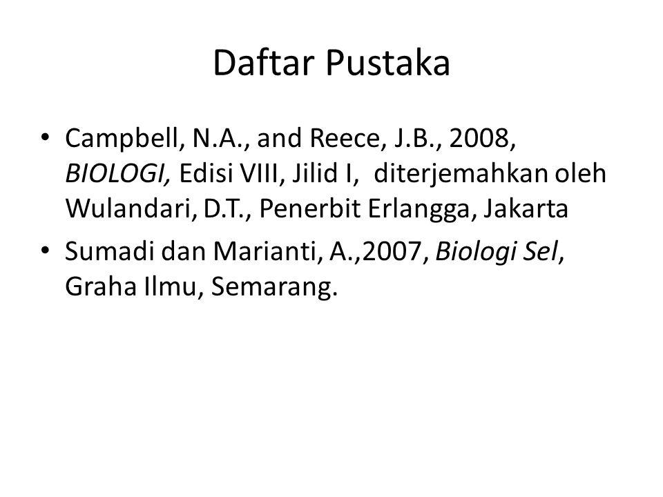 Daftar Pustaka Campbell, N.A., and Reece, J.B., 2008, BIOLOGI, Edisi VIII, Jilid I, diterjemahkan oleh Wulandari, D.T., Penerbit Erlangga, Jakarta Sum