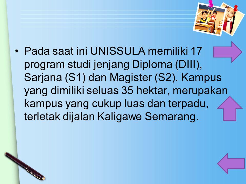 Pada saat ini UNISSULA memiliki 17 program studi jenjang Diploma (DIII), Sarjana (S1) dan Magister (S2). Kampus yang dimiliki seluas 35 hektar, merupa