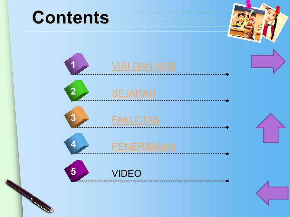 Contents 4 VISI DAN MISI 1 2 3 5 SEJARAH FAKULTAS PENERIMAAN VIDEO