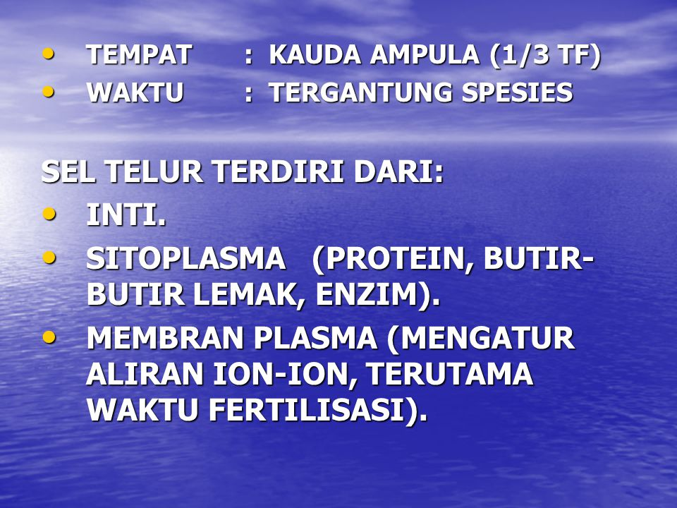 TEMPAT: KAUDA AMPULA (1/3 TF) TEMPAT: KAUDA AMPULA (1/3 TF) WAKTU: TERGANTUNG SPESIES WAKTU: TERGANTUNG SPESIES SEL TELUR TERDIRI DARI: INTI.