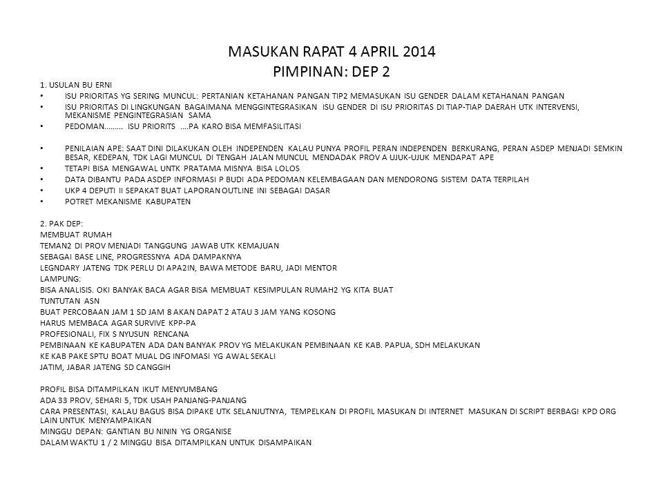 MASUKAN RAPAT 4 APRIL 2014 PIMPINAN: DEP 2 1.