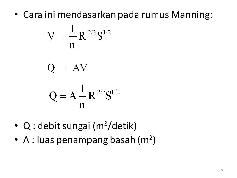Cara ini mendasarkan pada rumus Manning: Q : debit sungai (m 3 /detik) A : luas penampang basah (m 2 ) 18
