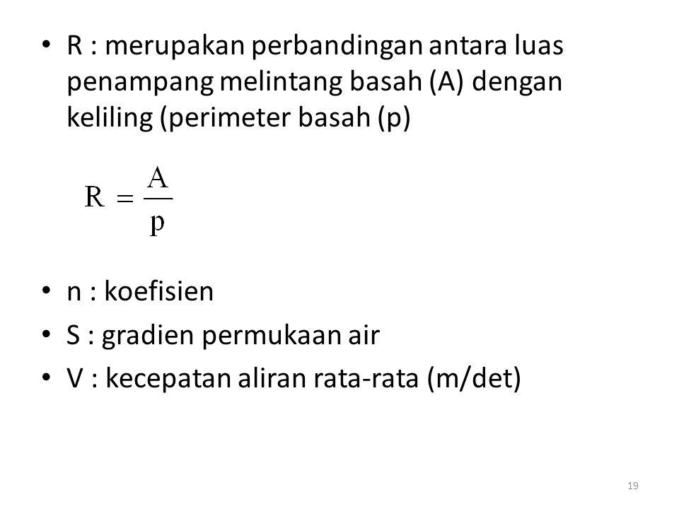 R : merupakan perbandingan antara luas penampang melintang basah (A) dengan keliling (perimeter basah (p) n : koefisien S : gradien permukaan air V :