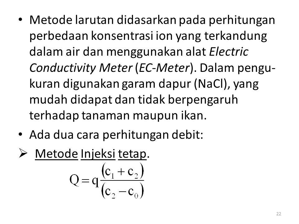 Metode larutan didasarkan pada perhitungan perbedaan konsentrasi ion yang terkandung dalam air dan menggunakan alat Electric Conductivity Meter (EC-Me
