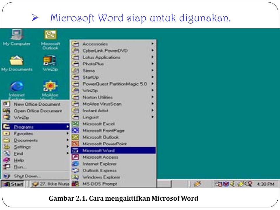 Memulai Word 2000 Word 2000 baru dapat dijalankan apabila sistem operasi windows telah kita aktifkan. langkah-langkah memulai bekerja dengan Word 2000