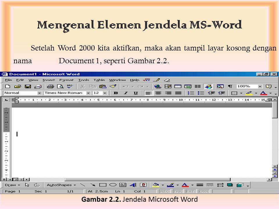  Microsoft Word siap untuk digunakan. Gambar 2.1. Cara mengaktifkan Microsof Word