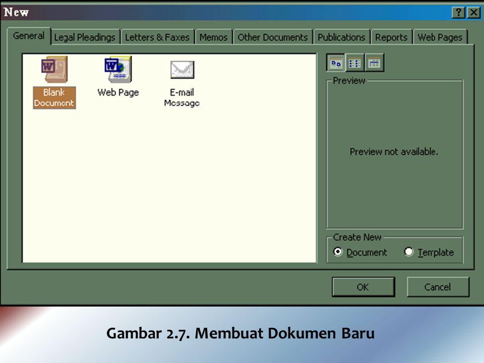 Bagaimana caranya untuk membuka lembar kerja yang baru ini ?. Ada dua cara, yaitu ; 1. Mengaktifkan Word 2000 dari menu Start (lihat sub menu memulai