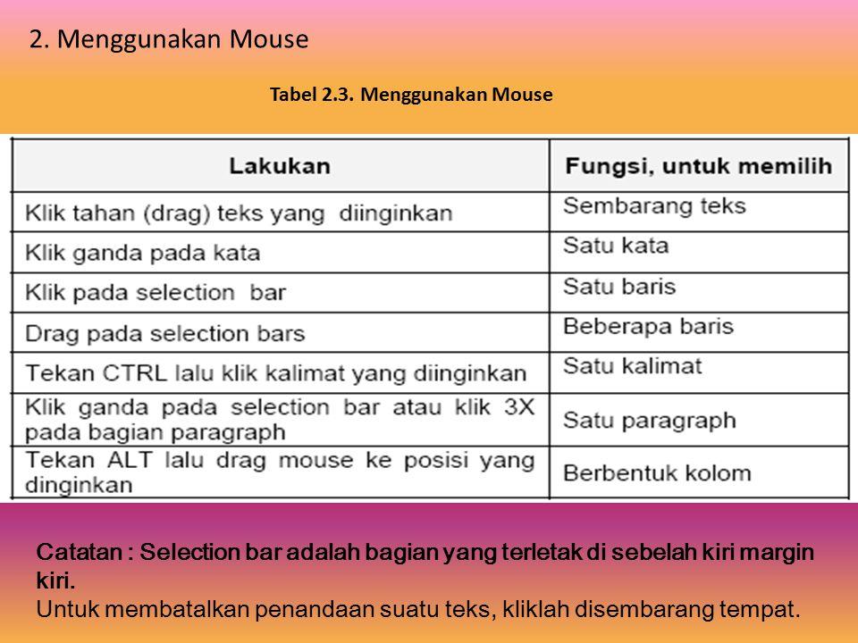 Tabel 2.2. Menandai Teks