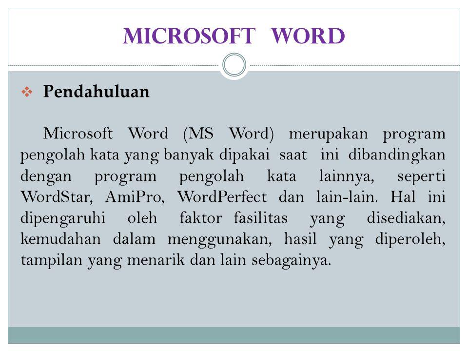 MICROSOF WORD Mengenal Microsoft Word  Microsoft Word (MS Word) merupakan program untuk mengolah kata. Program ini bisa digunakan untuk menulis dokum