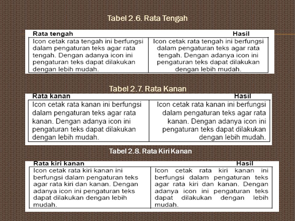 Lihat efek dibawah ini ; Tabel 2.4. Jenis Efek Tabel 2.5. Rata Kiri